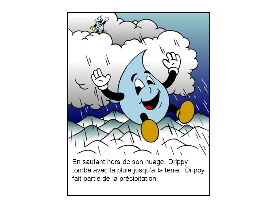 En sautant hors de son nuage, Drippy tombe avec la pluie jusqu'à la terre.