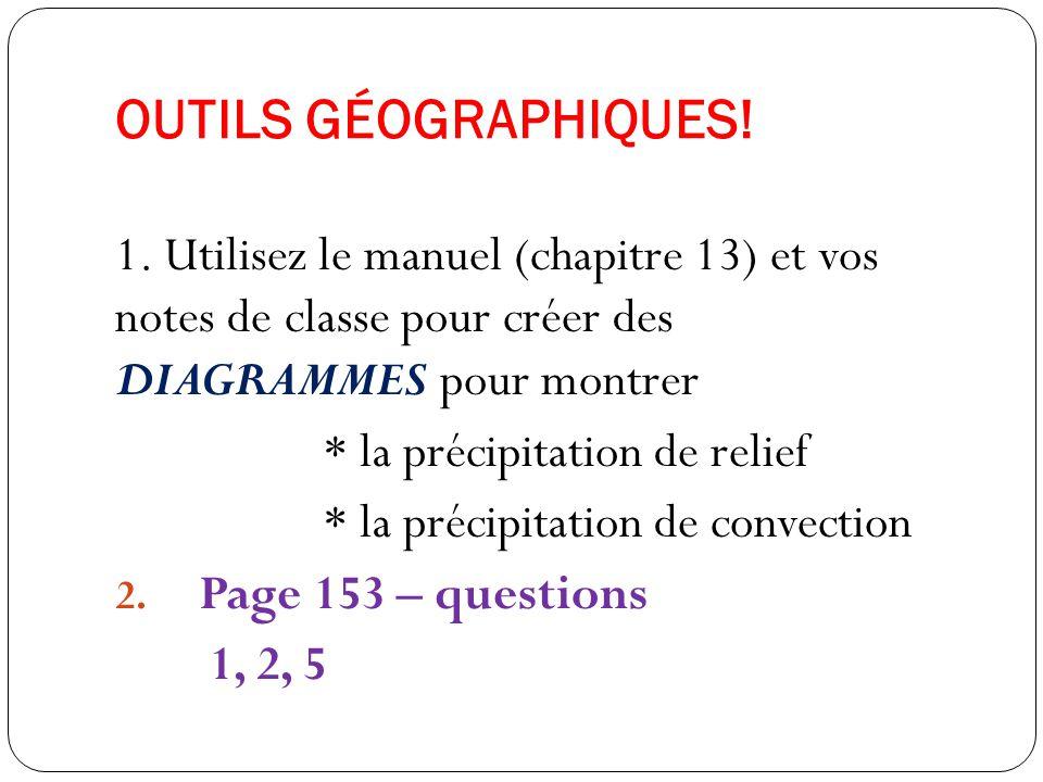 OUTILS GÉOGRAPHIQUES! 1. Utilisez le manuel (chapitre 13) et vos notes de classe pour créer des DIAGRAMMES pour montrer.