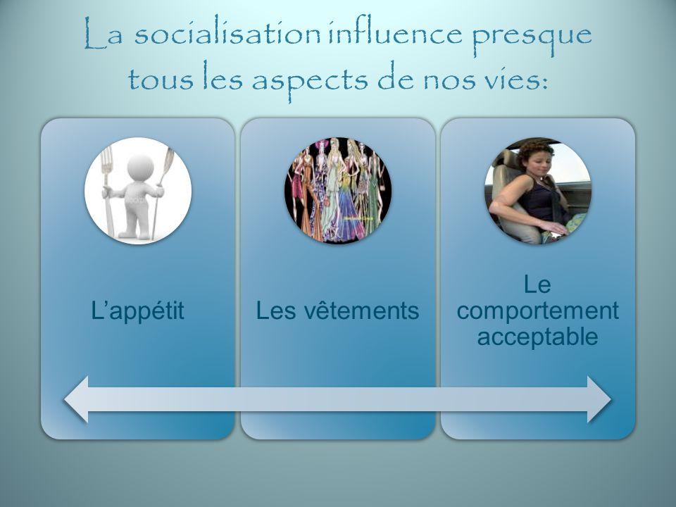 La socialisation influence presque tous les aspects de nos vies: