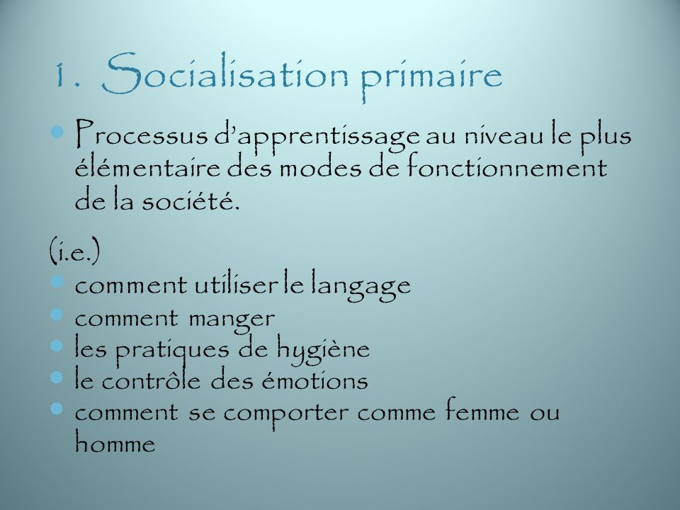 1. Socialisation primaire