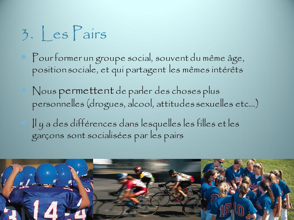 3. Les Pairs Pour former un groupe social, souvent du même âge, position sociale, et qui partagent les mêmes intérêts.