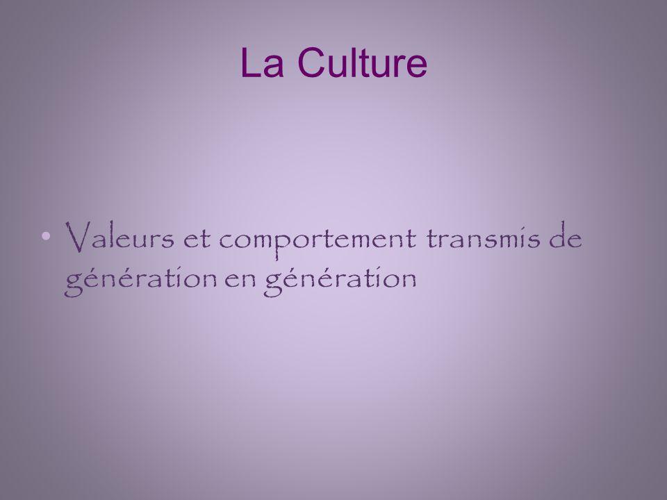 La Culture Valeurs et comportement transmis de génération en génération
