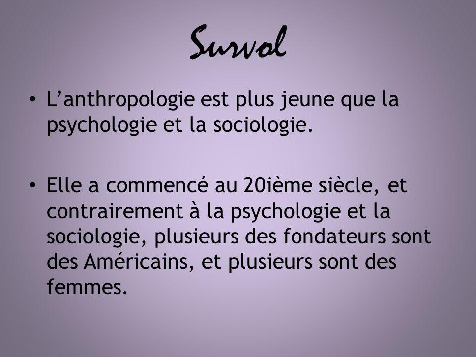 Survol L'anthropologie est plus jeune que la psychologie et la sociologie.