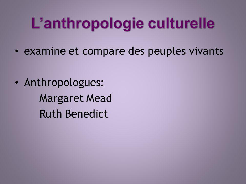 L'anthropologie culturelle