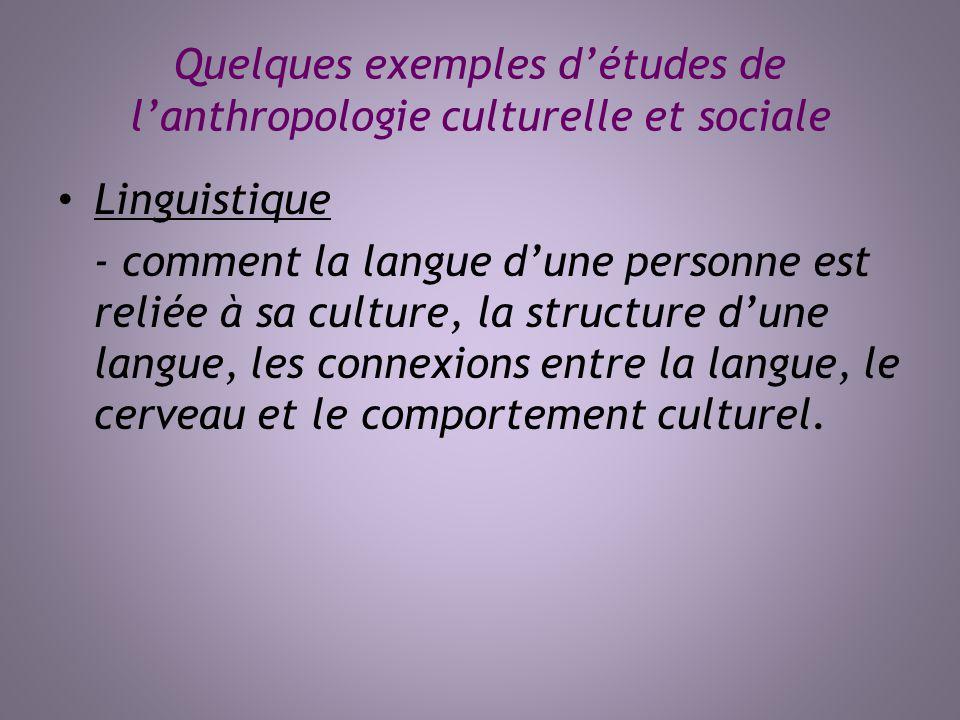 Quelques exemples d'études de l'anthropologie culturelle et sociale