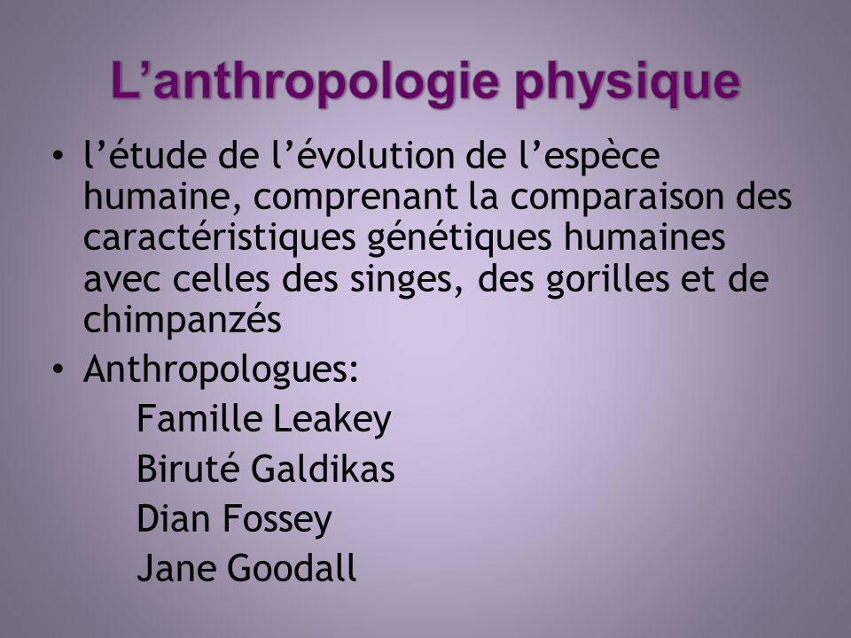 L'anthropologie physique