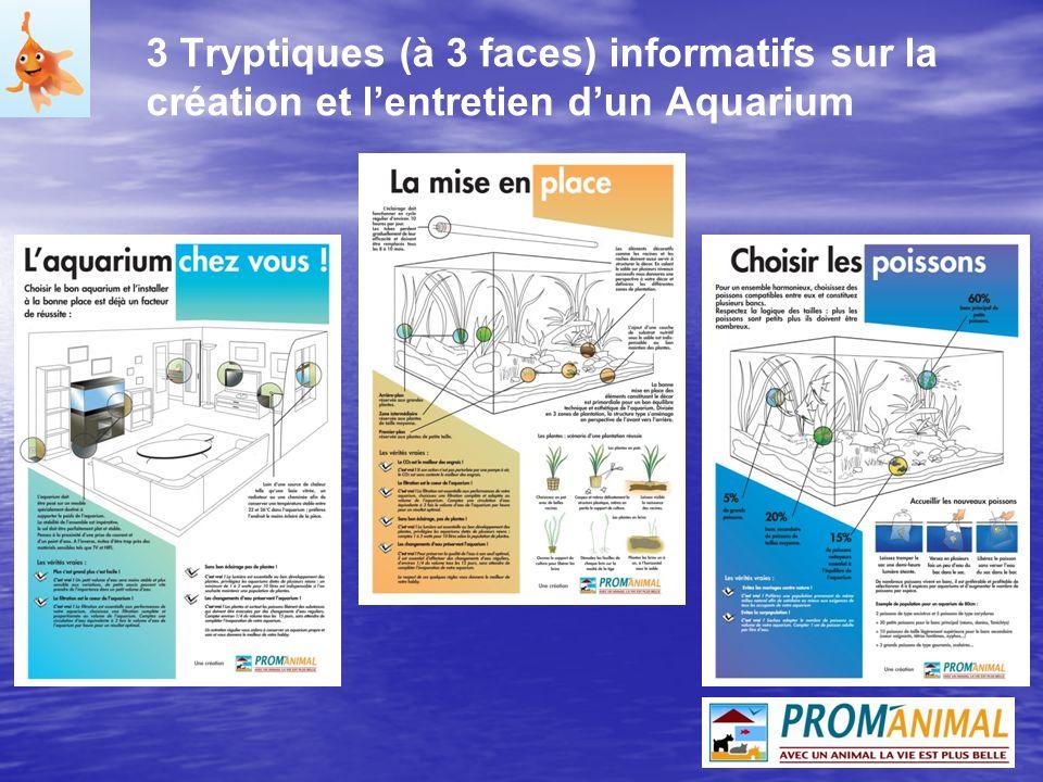 3 Tryptiques (à 3 faces) informatifs sur la création et l'entretien d'un Aquarium