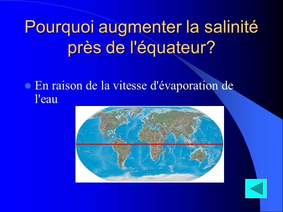 Pourquoi augmenter la salinité près de l équateur