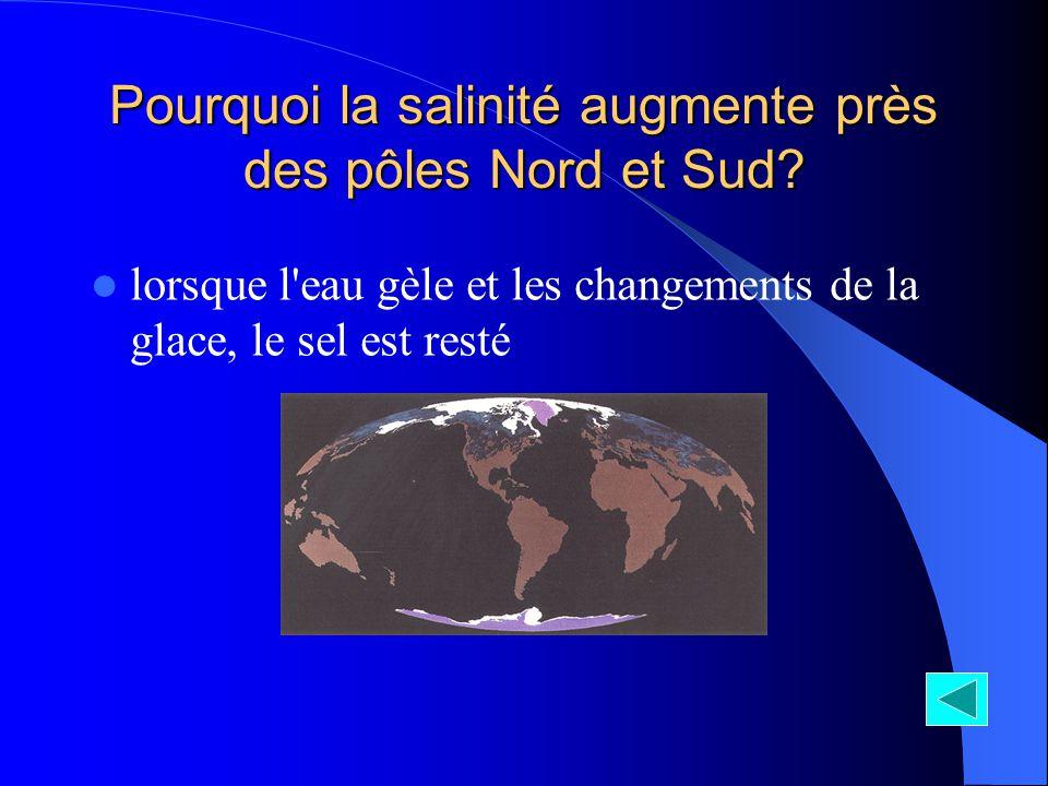 Pourquoi la salinité augmente près des pôles Nord et Sud