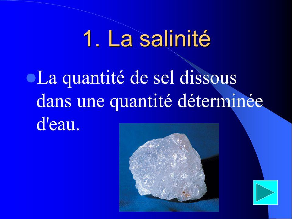 La salinité La quantité de sel dissous dans une quantité déterminée d eau.