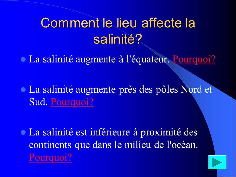Comment le lieu affecte la salinité
