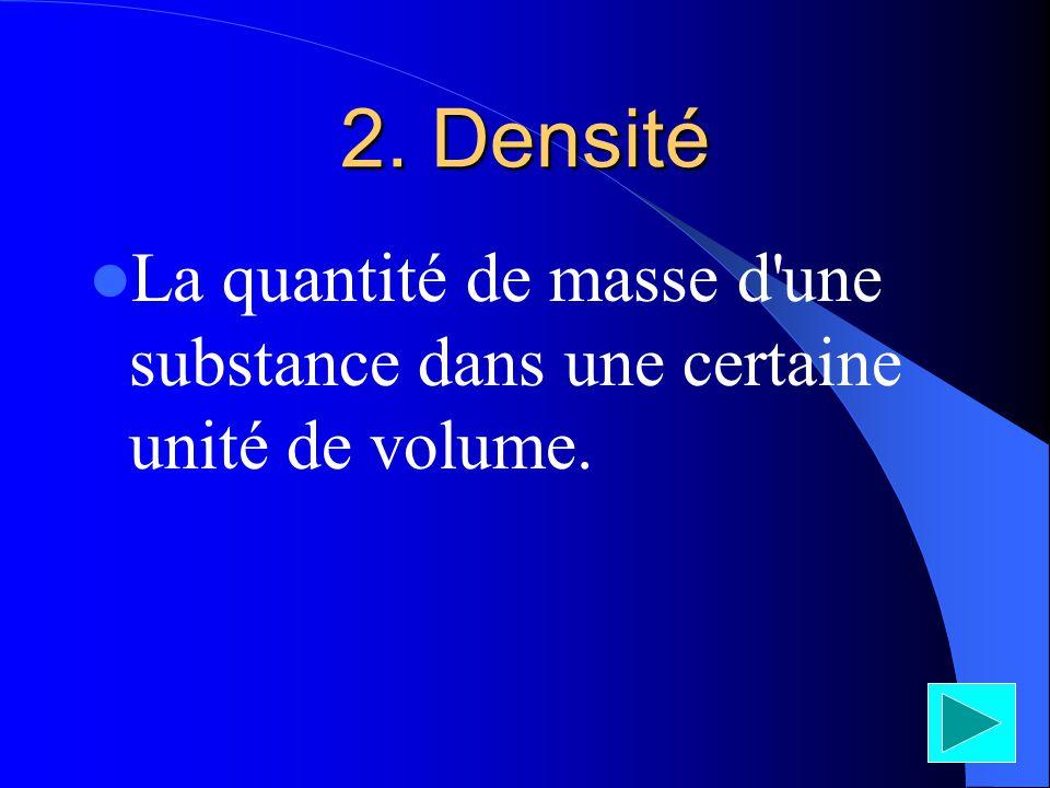 2. Densité La quantité de masse d une substance dans une certaine unité de volume.