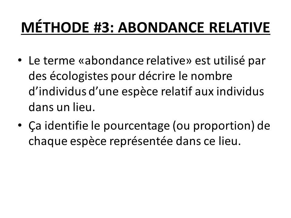 MÉTHODE #3: ABONDANCE RELATIVE