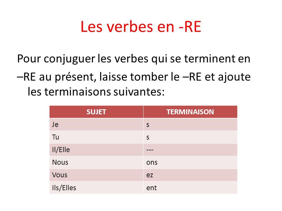 Les verbes en -RE Pour conjuguer les verbes qui se terminent en