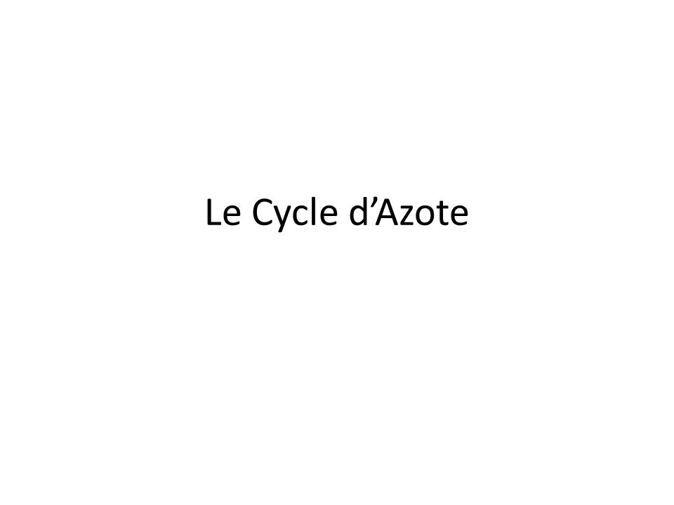 Le Cycle d'Azote
