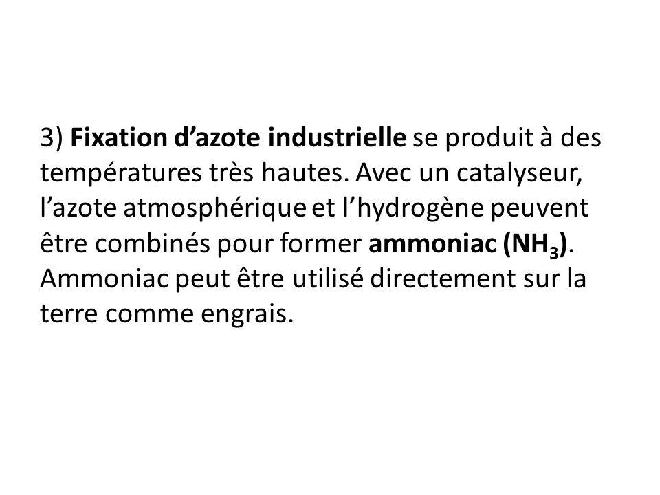 3) Fixation d'azote industrielle se produit à des températures très hautes.