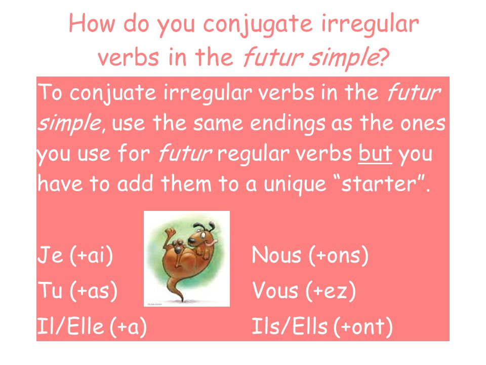 How do you conjugate irregular verbs in the futur simple