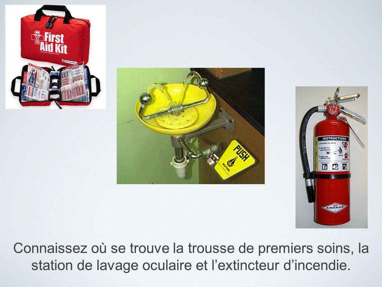 Connaissez où se trouve la trousse de premiers soins, la station de lavage oculaire et l'extincteur d'incendie.