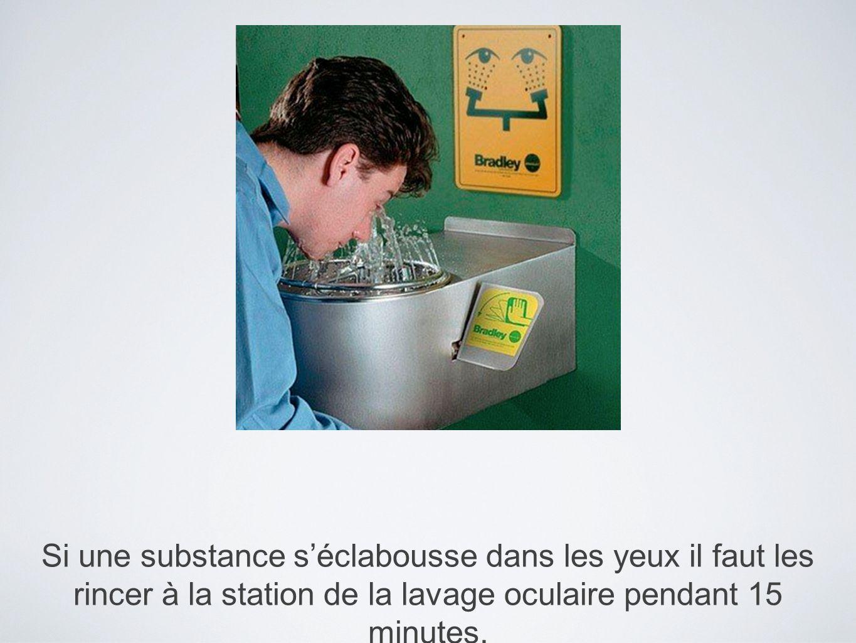 Si une substance s'éclabousse dans les yeux il faut les rincer à la station de la lavage oculaire pendant 15 minutes.