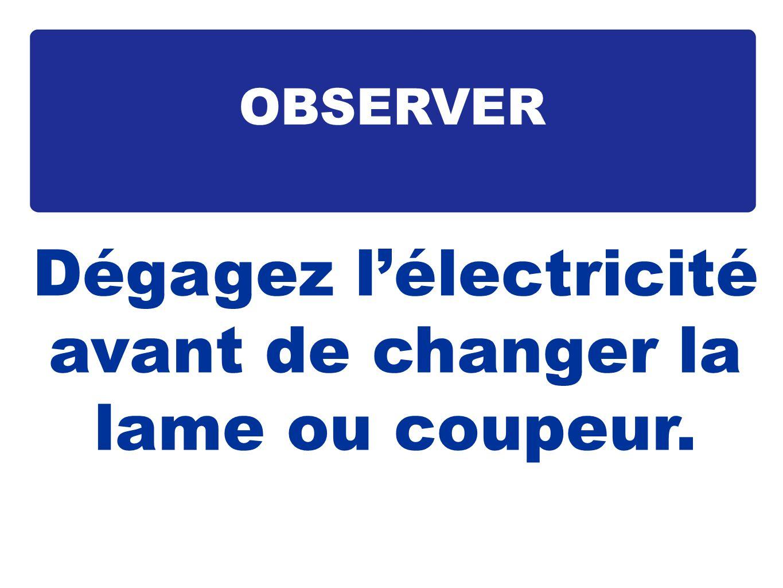 Dégagez l'électricité avant de changer la lame ou coupeur.