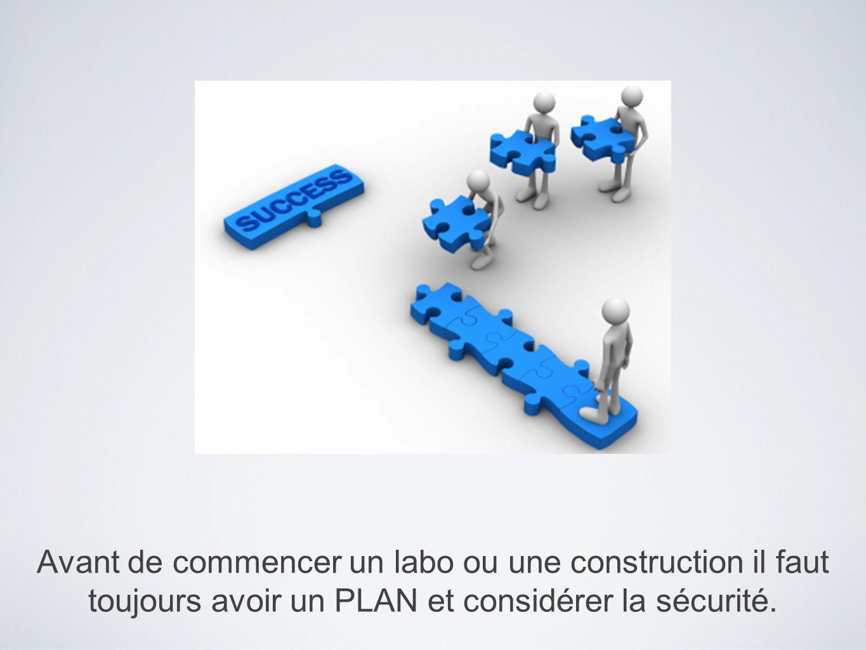 Avant de commencer un labo ou une construction il faut toujours avoir un PLAN et considérer la sécurité.