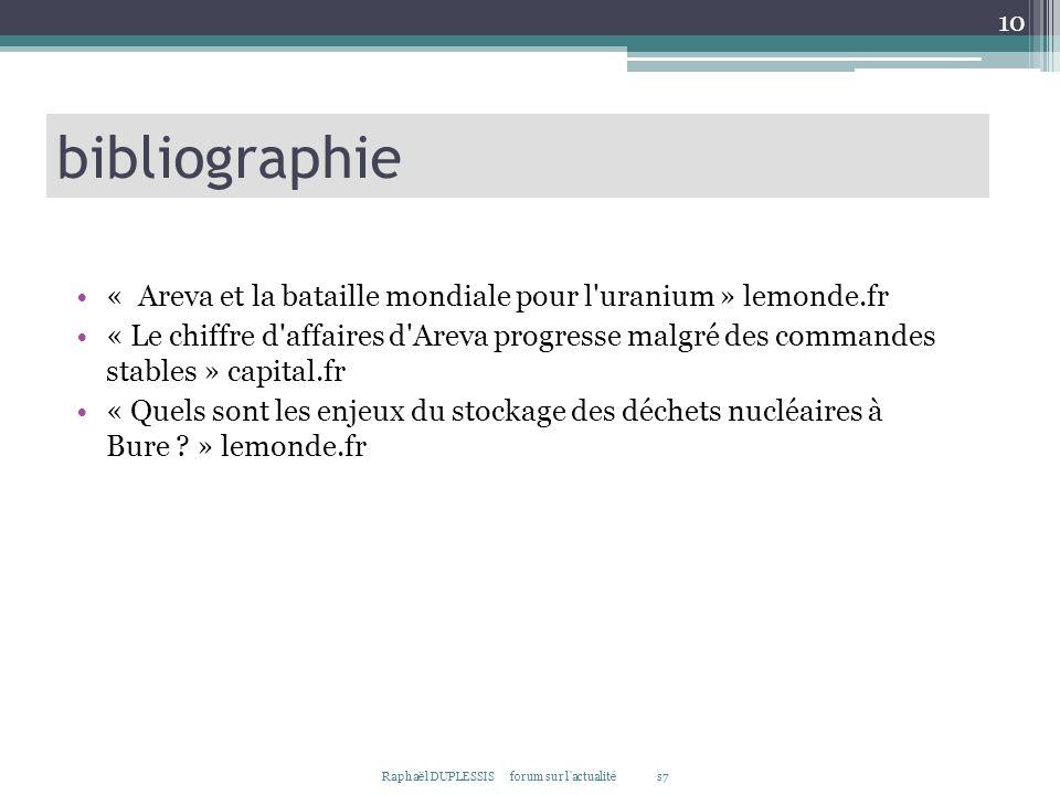 bibliographie « Areva et la bataille mondiale pour l uranium » lemonde.fr.