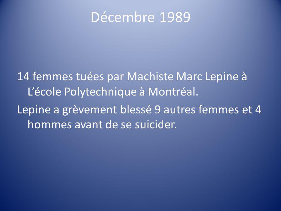 Décembre 1989 14 femmes tuées par Machiste Marc Lepine à L'école Polytechnique à Montréal.