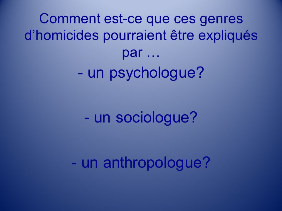 - un psychologue - un sociologue - un anthropologue