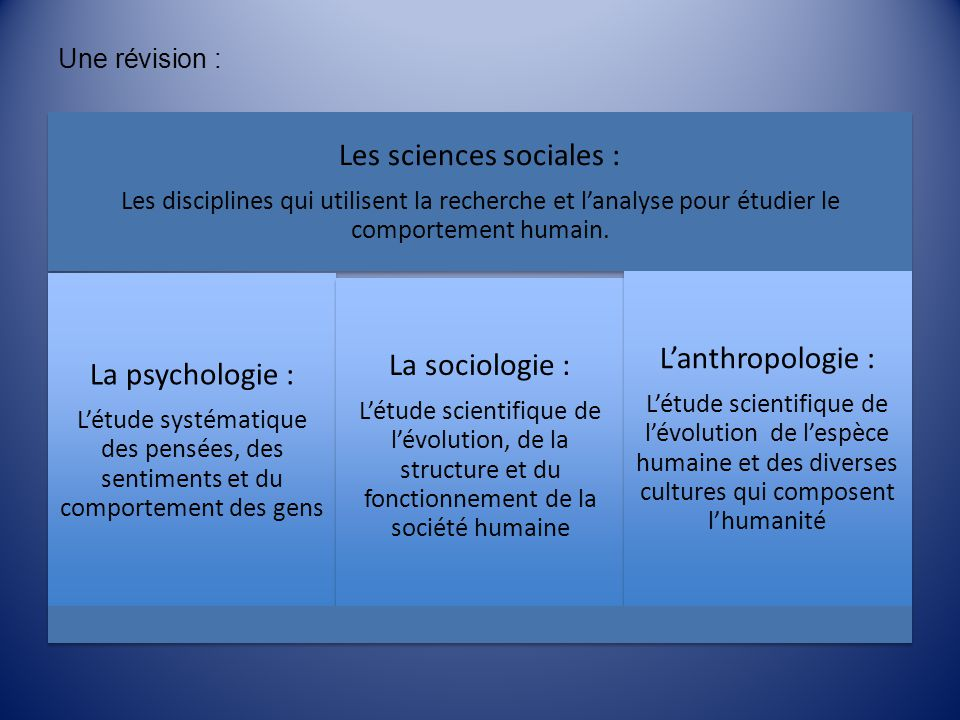 Les sciences sociales :