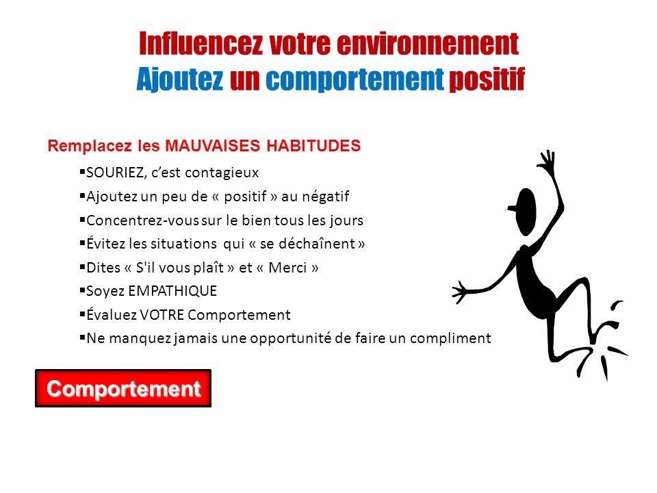 Influencez votre environnement Ajoutez un comportement positif