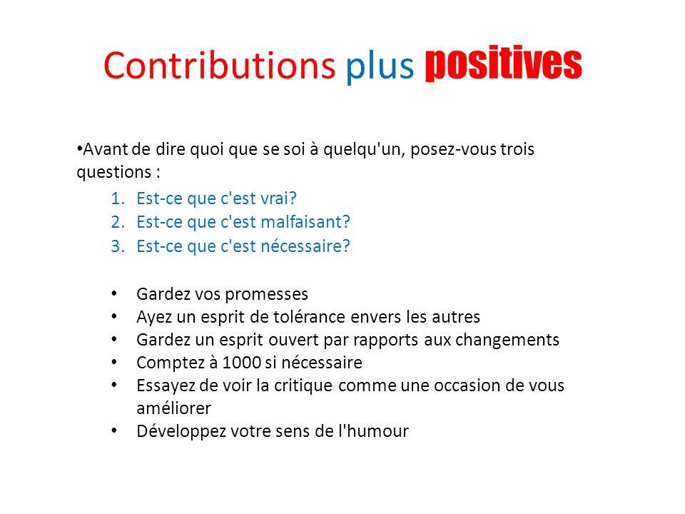 Contributions plus positives
