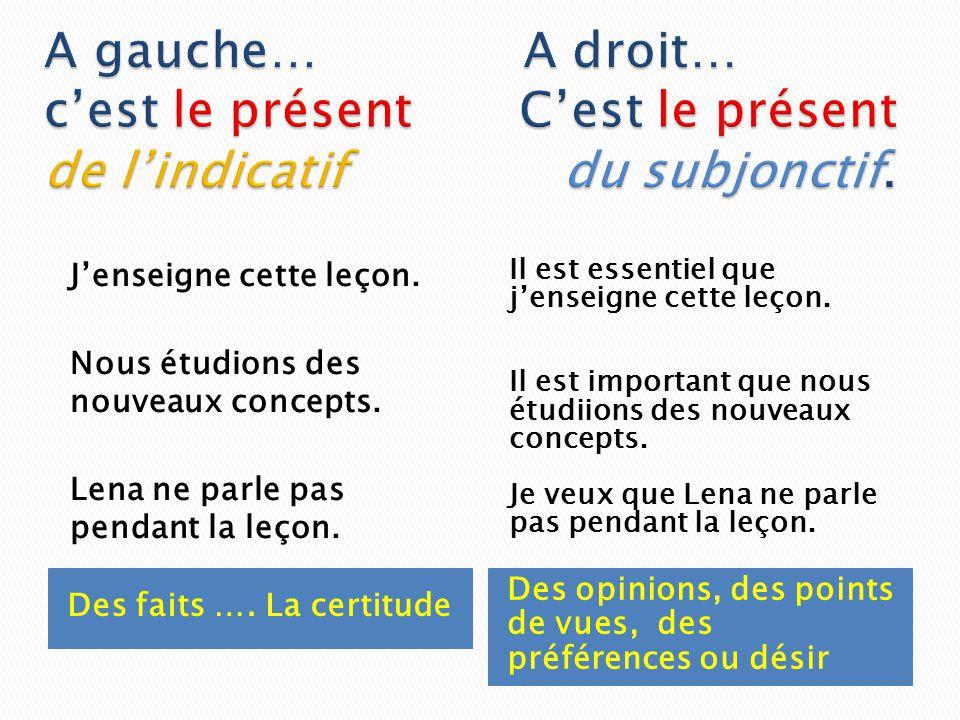 A gauche… A droit… c'est le présent C'est le présent de l'indicatif du subjonctif.