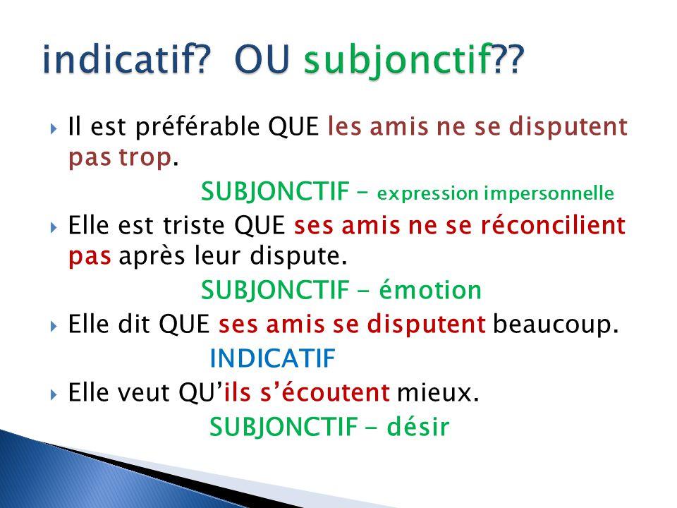 indicatif OU subjonctif