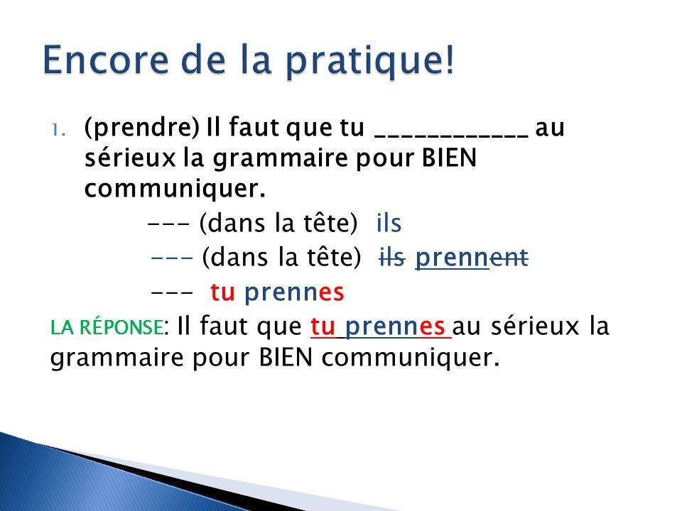 Encore de la pratique! (prendre) Il faut que tu ____________ au sérieux la grammaire pour BIEN communiquer.