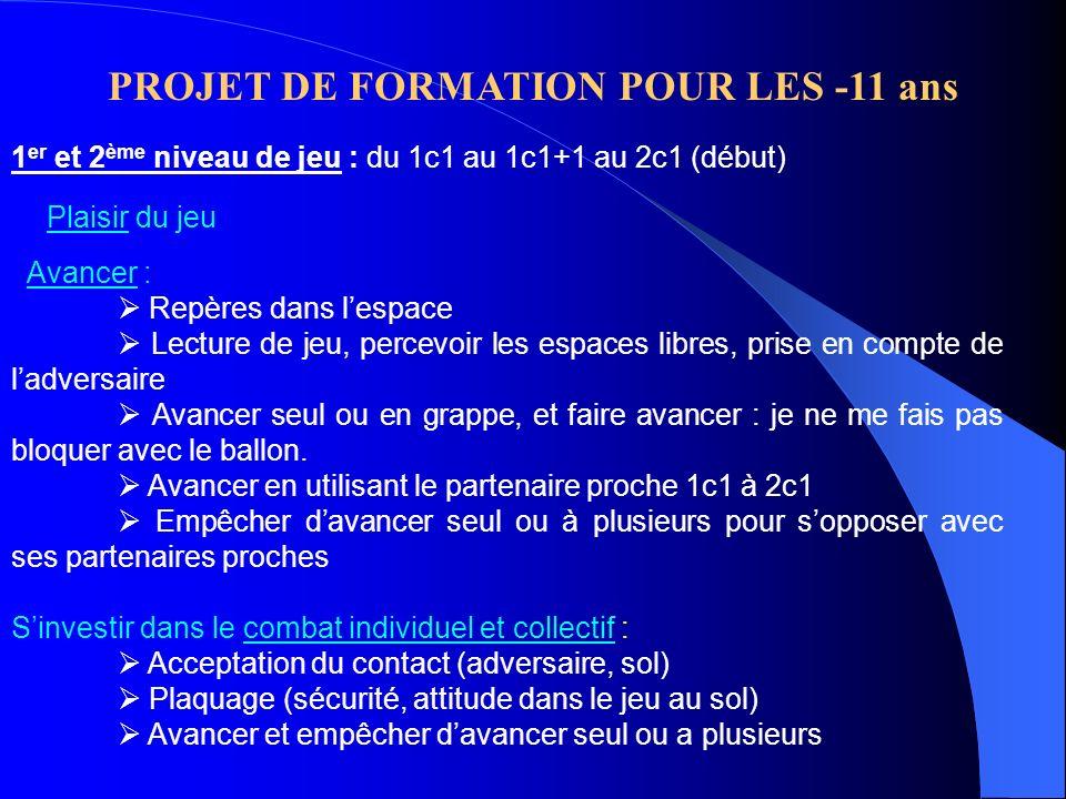 PROJET DE FORMATION POUR LES -11 ans