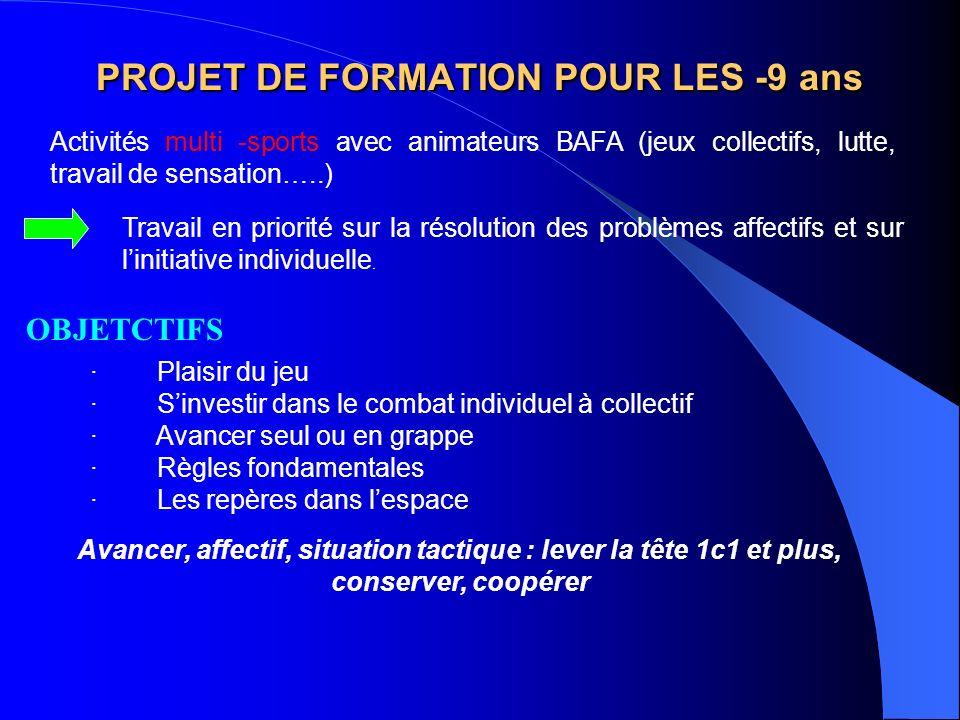 PROJET DE FORMATION POUR LES -9 ans