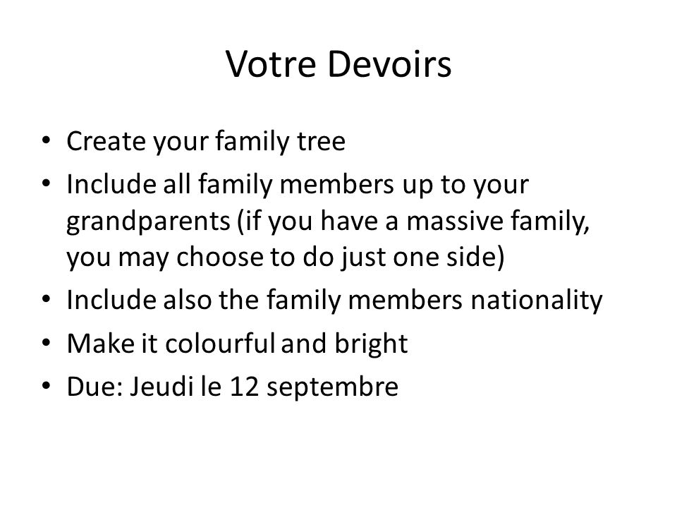 Votre Devoirs Create your family tree