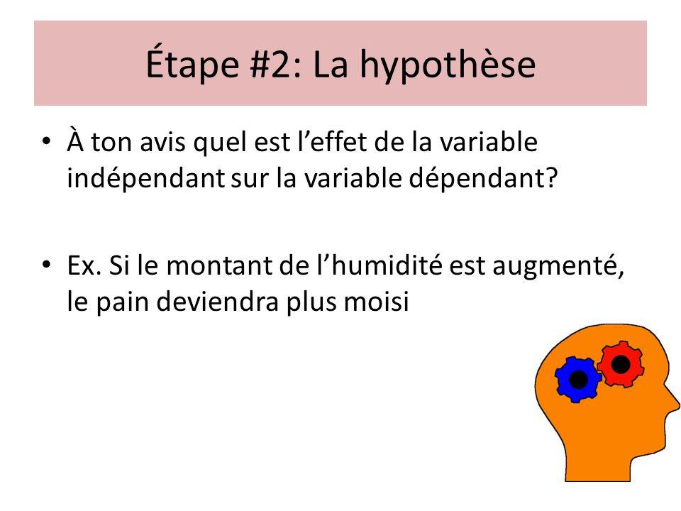 Étape #2: La hypothèse À ton avis quel est l'effet de la variable indépendant sur la variable dépendant