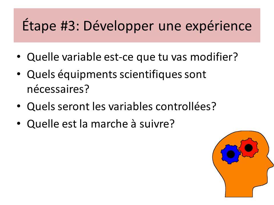 Étape #3: Développer une expérience