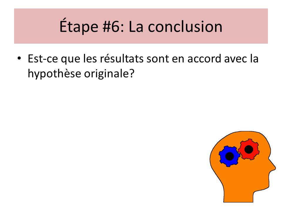 Étape #6: La conclusion Est-ce que les résultats sont en accord avec la hypothèse originale