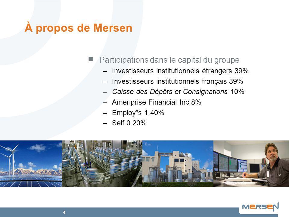 À propos de Mersen Participations dans le capital du groupe