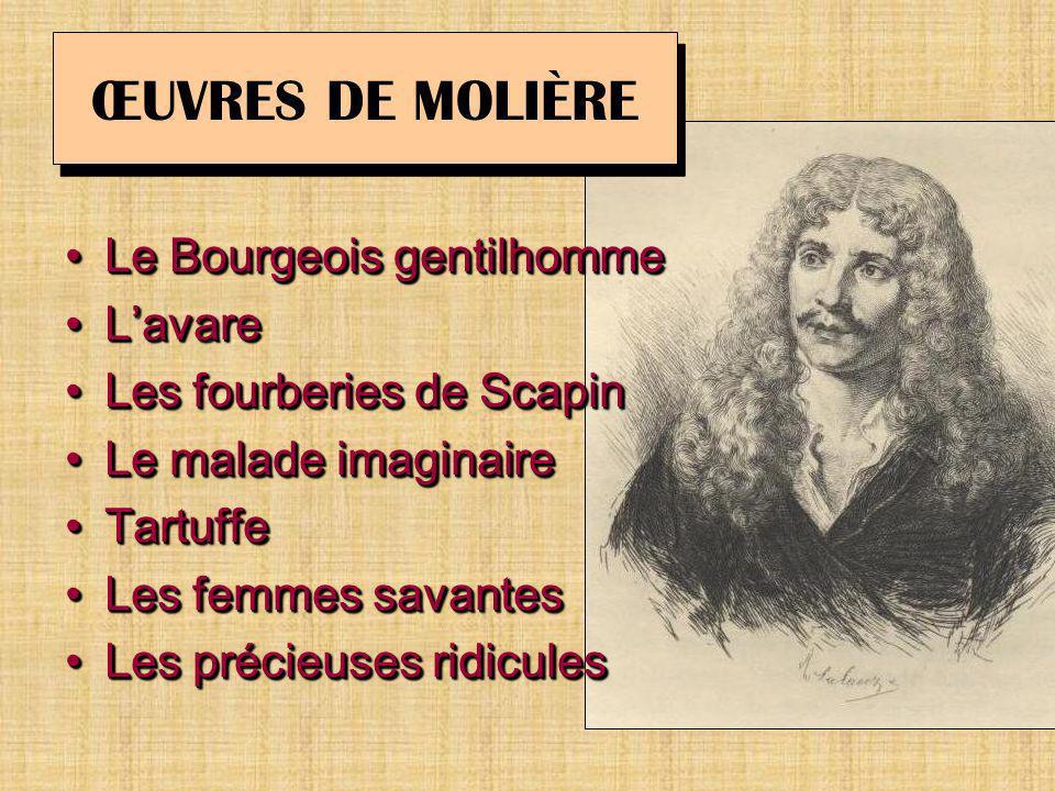 ŒUVRES DE MOLIÈRE Le Bourgeois gentilhomme L'avare