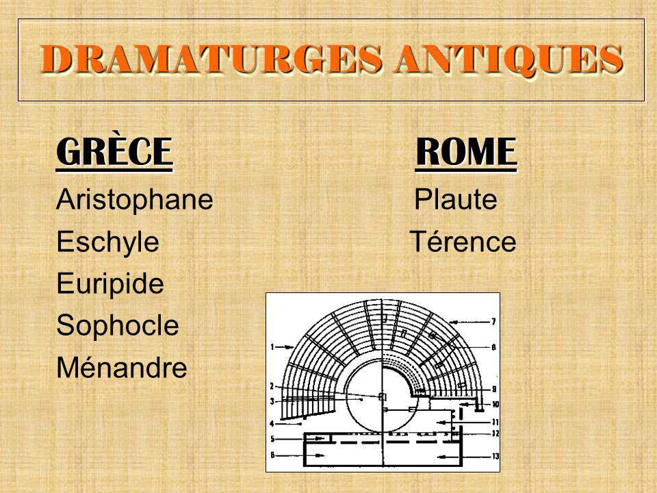 GRÈCE ROME DRAMATURGES ANTIQUES Aristophane Plaute Eschyle Térence