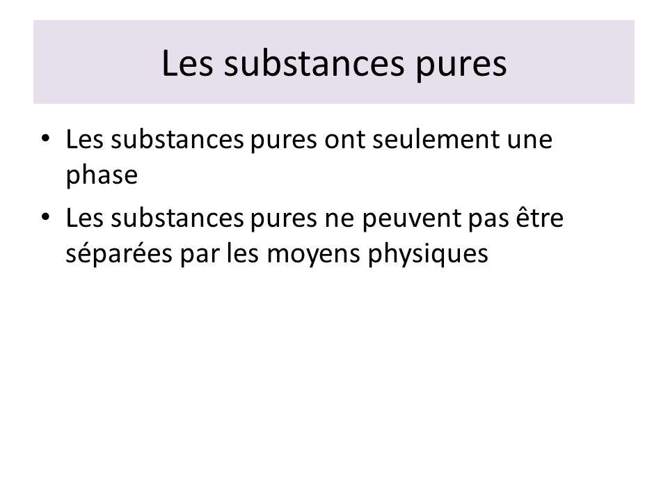 Les substances pures Les substances pures ont seulement une phase