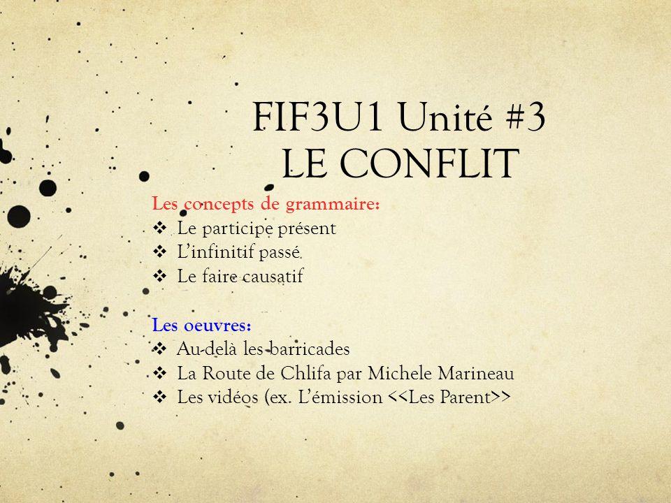 FIF3U1 Unité #3 LE CONFLIT Les concepts de grammaire: