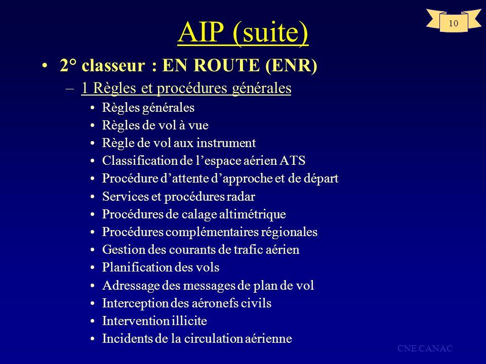 AIP (suite) 2° classeur : EN ROUTE (ENR)