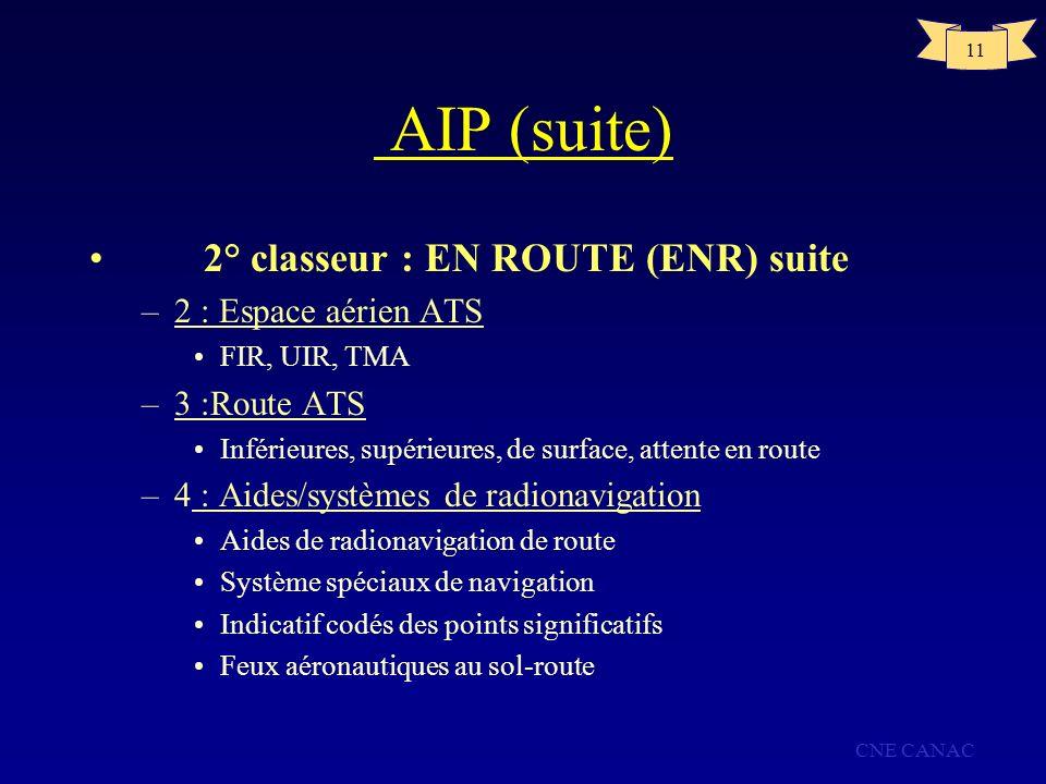 AIP (suite) 2° classeur : EN ROUTE (ENR) suite 2 : Espace aérien ATS