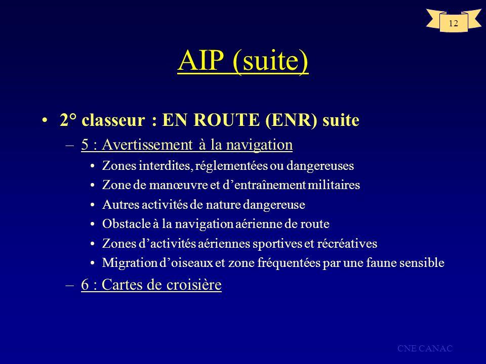 AIP (suite) 2° classeur : EN ROUTE (ENR) suite