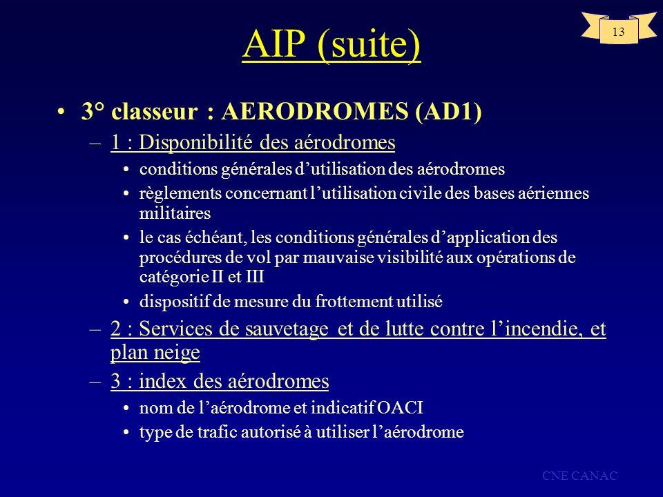 AIP (suite) 3° classeur : AERODROMES (AD1)