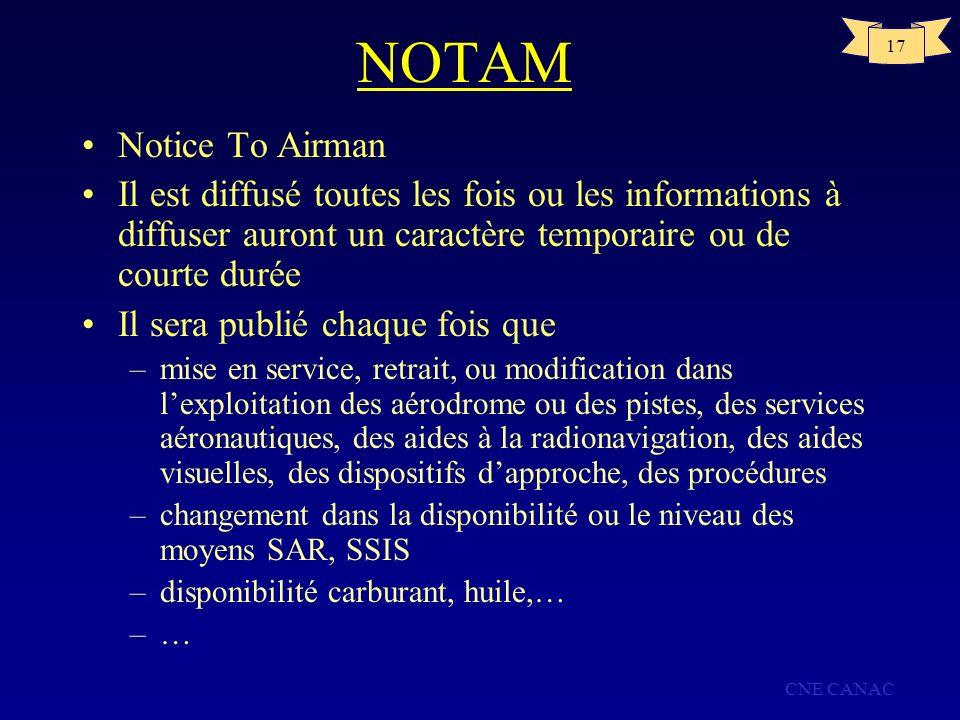 NOTAM Notice To Airman. Il est diffusé toutes les fois ou les informations à diffuser auront un caractère temporaire ou de courte durée.